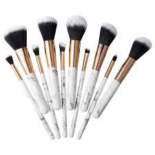 amazon marble makeup brush set zodaca 10 piece professional stylish eyeshadow foundation concealer contour cosmetic travel brush kit with wooden