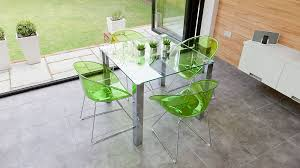 4 Seater Glass Kitchen Dining Table and Green Dining Chairs
