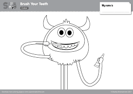 A large bear with many missing teeth holding an ice lolly and an ice cream, quite a simple kids printable. Brush Your Teeth Coloring Pages Super Simple