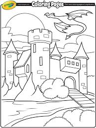 Castle With Dragon Flying Above On Crayola Com Coloring Pages Kids