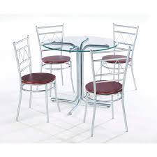 modern round glass dining table with stainless steel base also chrome plated iron dining chairs using