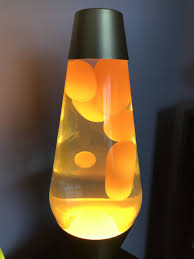 Premier Lava Lamp Yellow Wax And Clear Liquid On A Gold Base
