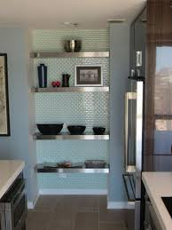 Kitchen Alcove Modern Kitchen Alcove Floating Stainless Steel Shelves With Glass