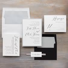 Black And White Invitation Paper Black Script Wedding Invitations