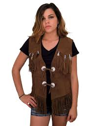 women s brown suede fringe vest