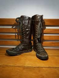 converse knee high brown leather men s fashion footwear sneakers on carou