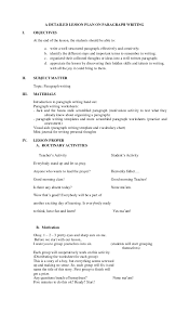 a detailed lesson plan on paragraph writing a detailed lesson plan on paragraph writing i objectives at the end of the lesson