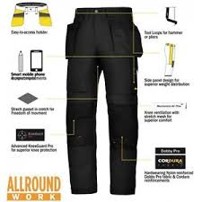 Snickers Trousers Size Chart Details About Snickers Trousers 6201 Allroundwork Holster Pocket Mens Black Workwear Pre