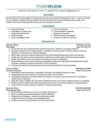 Security Officer Resume Examples Security Ficer Resume Objective