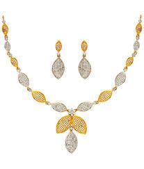 anjali jewellers golden silver colour american diamond necklace set