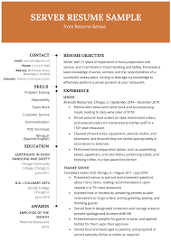 Resume For Servers Server Resume Example Writing Tips Resume Genius