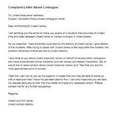 Complaint Letter About A Colleague Letter Templates