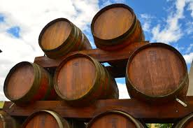 oak barrels stacked top. Wine Barrels Stack Up Nicely In Penticton. Oak Stacked Top