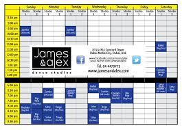 Free Schedule Free Week Schedule James Alex Dance Studios