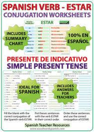 Estar Spanish Verb Conjugation Worksheets Present Tense
