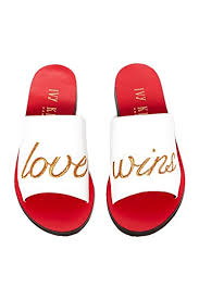 Love Wins Quotes Inspiration Amazon Ivy Kirzhner Quotes Love Wins White Red Flat Slide Mule
