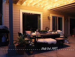 hanging globe lights over the patio
