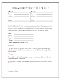 Florida Auto Bill Of Sale Form Free Used Car Bill Of Sale Template Document Free Word Agreement