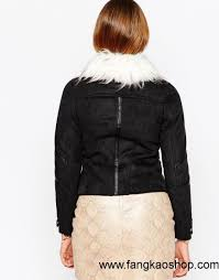 united states women black women river island suedette biker jacket with faux fur collar us fwow23002588