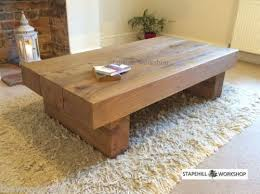 oak large beam coffee table side solid rustic handmade chunky wood unique ebay