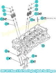 2007 2013 nissan x trail petrol engine cylinder head diagram