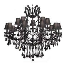 maria theresa 16 light black crystal chandelier with black shades