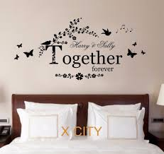 personalised name lover together forever quote wall art sticker removable vinyl transfer decal warm house bedroom on personalised wall art stickers quotes with personalised name lover together forever quote wall art sticker