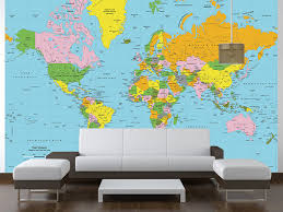 classic color world political map wall mural in room touch to zoom