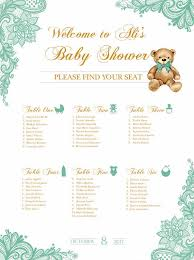 Baby Shower Seating Chart Board Mint Green Lace Printed
