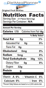 skittles nutrition facts label