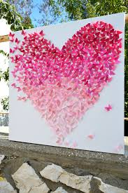 3d Butterfly Wall Decor Pink Ombre Butterfly Heart 3d Butterfly Wall Art Nursery Decor