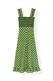 Seersucker Check Maxi Dress Ganni