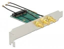 Delock PCI <b>Express Card</b> > <b>Mini PCIe</b> Slot + 3 RP-SMA Ports