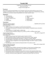 Call Center Representative Resume Impressive Call Center Customer Service Representative Resume Examples Free