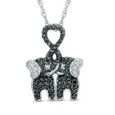t w enhanced black and white diamond kissing elephants pendant in sterling