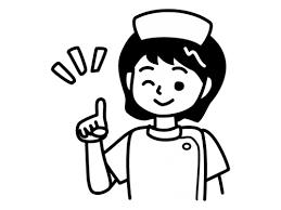 ワインポイントのナース看護師の白黒イラスト02 かわいい無料の白黒