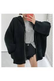 black basic zippered sweater hooded jackets for women loading zoom