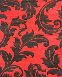 red with black leaf area rug