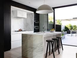 black and white kitchen ideas. Black And White Kitchen Modern Stool Hidden Range Hood Dome Pendant Carara Marble Island Ideas