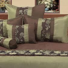 jemma olive green chocolate faux silk flocked king quilt doona duvet cover set
