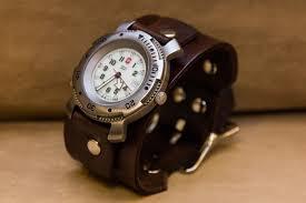custom made leather cuff watch bracelet