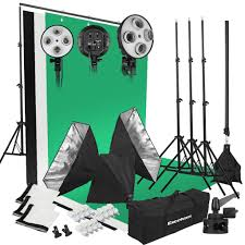excelvan 2000w photo studio led continuous lighting kit 3 color backdrop background support 4 socket auto pop up softbox light stand 45w led lamp