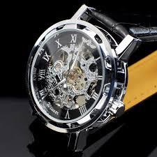 mens designer skeleton watch