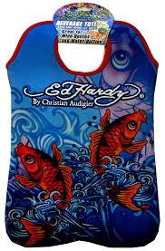 Ed Hardy Fish Design Ed Hardy Designs By Christian Audigier Neoprene 2 Bottle Wine Beverage Tote Tattoo Ocean Koi Fish