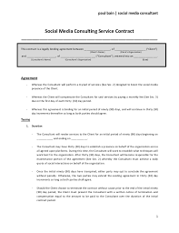 Consulting Agreement In Pdf Awesome Social Media Consulting Services Contract