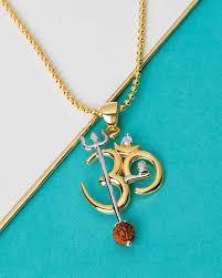 om design rudraksha studded pendant