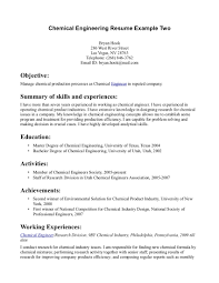 Chemical Engineering Resume Format Resume Format