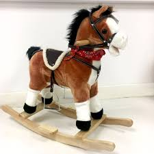 kids rocking horse with moving mouth  sounds  shelving centre