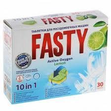 <b>Fasty Таблетки д</b>/посудомоечных машин <b>Лимон</b> 10 в1, 30 шт ...