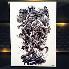 военный воин временные татуировки греческий миф герой спарты водонепроницаемый